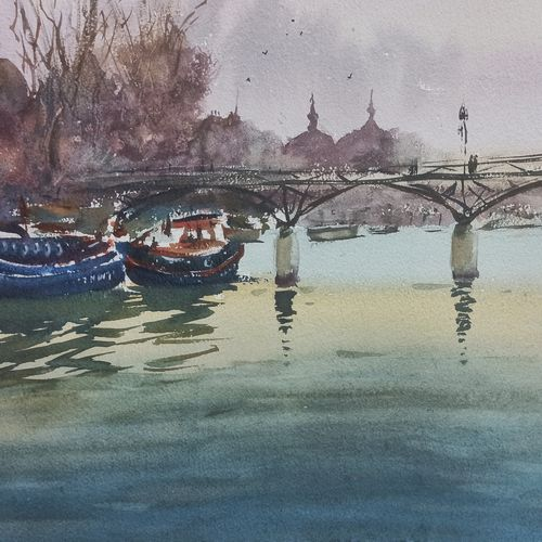 pont neuf, france (new bridge), 21 x 17 inch, anand sreenivasan,21x17inch,handmade paper,paintings,cityscape paintings,landscape paintings,nature paintings   scenery paintings,expressionism paintings,illustration paintings,impressionist paintings,minimalist paintings,realism paintings,contemporary paintings,realistic paintings,paintings for dining room,paintings for living room,paintings for bedroom,paintings for office,paintings for bathroom,paintings for kids room,paintings for hotel,paintings for kitchen,paintings for school,paintings for hospital,watercolor,GAL02264534595
