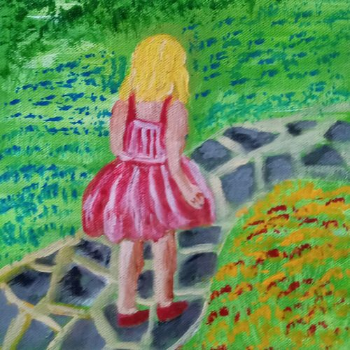girl in red dress walking down a path, 8 x 10 inch, reema pereira,8x10inch,canvas,paintings,abstract paintings,modern art paintings,conceptual paintings,children paintings,paintings for dining room,paintings for living room,paintings for bedroom,paintings for dining room,paintings for living room,paintings for bedroom,acrylic color,GAL02172034600