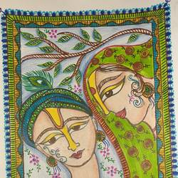 madhubani art, 9 x 12 inch, shruti tandon,9x12inch,drawing paper,paintings,madhubani paintings | madhubani art,pen color,GAL02149734602