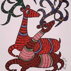 gond painting, 16 x 20 inch, preeti singh sikarwar,16x20inch,canvas,gond painting.,acrylic color,poster color,GAL02268434611