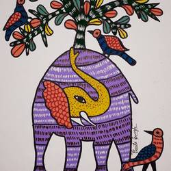 gond painting, 14 x 18 inch, preeti  singh,14x18inch,canvas,paintings,gond painting.,acrylic color,poster color,GAL02268434613