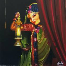 beautiful lady with night lamp, 18 x 24 inch, sandhya kumari,18x24inch,canvas,paintings,figurative paintings,flower paintings,still life paintings,photorealism paintings,photorealism,realistic paintings,paintings for dining room,paintings for living room,paintings for bedroom,paintings for office,paintings for kids room,paintings for hotel,paintings for kitchen,paintings for school,paintings for hospital,acrylic color,GAL0365934614