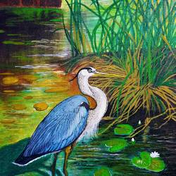 crane looking for food, 12 x 16 inch, lipsha sahoo,12x16inch,canvas board,paintings,nature paintings   scenery paintings,paintings for dining room,paintings for living room,paintings for bedroom,paintings for office,paintings for kids room,paintings for hotel,acrylic color,GAL01763534616