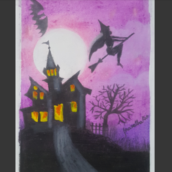 haunted house, 4 x 6 inch, praneetha rao,4x6inch,drawing paper,drawings,paintings for bedroom,paintings for kids room,illustration drawings,surrealism drawings,kids drawings,paintings for bedroom,paintings for kids room,acrylic color,pastel color,GAL02162934618
