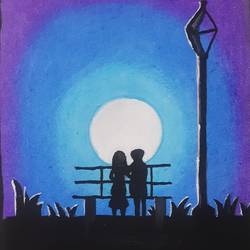 a couple on a park bench, 6 x 8 inch, praneetha rao,6x8inch,drawing paper,drawings,conceptual drawings,figurative drawings,paintings for living room,paintings for bedroom,paintings for hotel,acrylic color,pastel color,watercolor,GAL02162934624