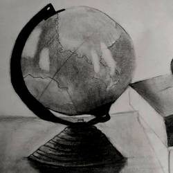 globe, 13 x 15 inch, sameed khan,13x15inch,canvas,figurative drawings,graphite pencil,paper,GAL02272134627