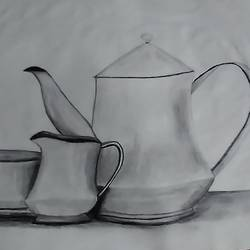 tea set, 13 x 13 inch, sameed khan,13x13inch,canvas,drawings,figurative drawings,paintings for dining room,paintings for living room,paintings for bedroom,paintings for kitchen,pencil color,graphite pencil,GAL02272134628