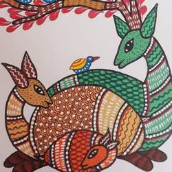 gond painting, 14 x 18 inch, preeti  singh,14x18inch,canvas,paintings,gond painting.,acrylic color,poster color,GAL02268434638