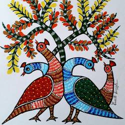 gond painting, 14 x 18 inch, preeti  singh,14x18inch,canvas,paintings,gond painting.,acrylic color,poster color,GAL02268434639