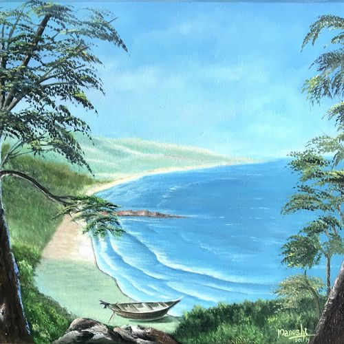 seascape, 30 x 21 inch, manoshi bhargava,30x21inch,canvas,paintings,landscape paintings,paintings for dining room,paintings for living room,paintings for bedroom,paintings for office,oil color,GAL01473034641