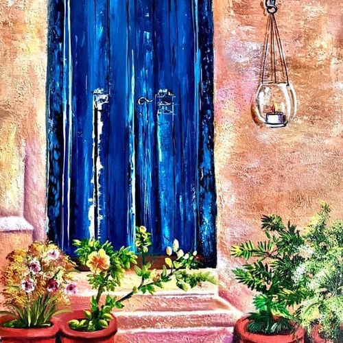 the blue door, 20 x 30 inch, manoshi bhargava,20x30inch,canvas,paintings,still life paintings,nature paintings | scenery paintings,paintings for dining room,paintings for living room,paintings for office,paintings for hotel,oil color,GAL01473034642