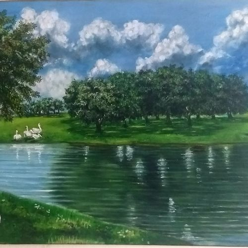 autumn landscape, 24 x 18 inch, shankha mitra,24x18inch,canvas,landscape paintings,nature paintings | scenery paintings,paintings for dining room,paintings for living room,paintings for bedroom,paintings for hotel,paintings for dining room,paintings for living room,paintings for bedroom,paintings for hotel,oil color,GAL02246934643