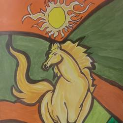 sun with horse, 12 x 16 inch, shiva kumar,12x16inch,paper,paintings,horse paintings,paintings for dining room,paintings for living room,paintings for bedroom,paintings for office,paintings for hotel,paintings for school,paintings for hospital,acrylic color,GAL02169534646