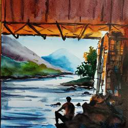 covered bridge, 8 x 11 inch, shankhadeep  mondal,8x11inch,brustro watercolor paper,paintings,landscape paintings,modern art paintings,paintings for dining room,paintings for living room,paintings for bedroom,paintings for office,paintings for kids room,paintings for hotel,paintings for kitchen,paintings for school,paintings for hospital,watercolor,GAL01403034656