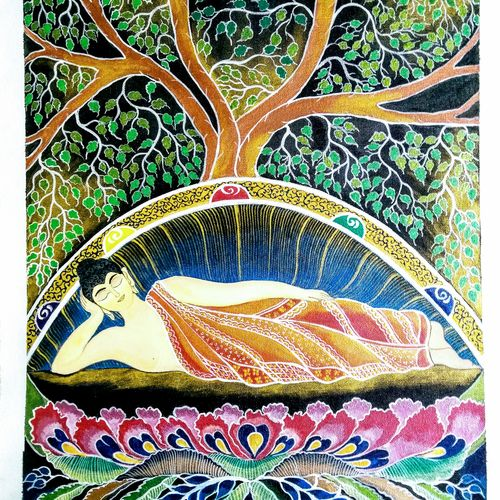 resting buddha , 16 x 22 inch, sudipta pal,16x22inch,canvas,buddha paintings,paintings for dining room,paintings for living room,paintings for bedroom,paintings for dining room,paintings for living room,paintings for bedroom,acrylic color,GAL02274134661