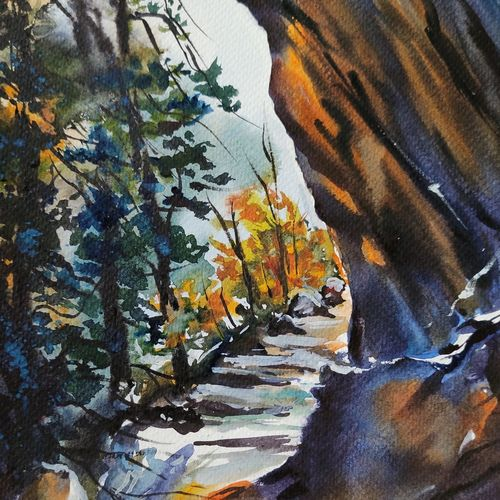 meenmutty waterfall, 8 x 11 inch, shankhadeep  mondal,8x11inch,brustro watercolor paper,paintings,landscape paintings,paintings for dining room,paintings for living room,paintings for bedroom,paintings for office,paintings for kids room,paintings for hotel,paintings for kitchen,paintings for school,paintings for hospital,watercolor,GAL01403034666