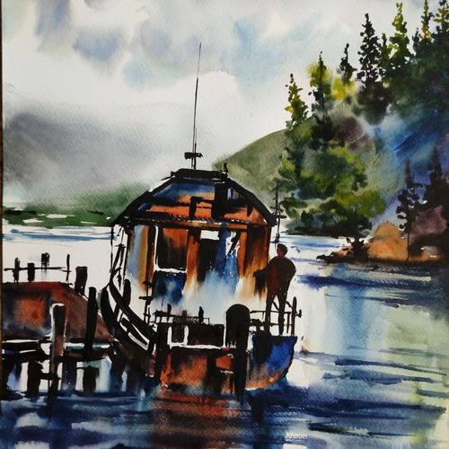 lake boat, 12 x 17 inch, shankhadeep  mondal,12x17inch,brustro watercolor paper,paintings,landscape paintings,nature paintings | scenery paintings,paintings for dining room,paintings for living room,paintings for bedroom,paintings for office,paintings for bathroom,paintings for kids room,paintings for hotel,paintings for kitchen,paintings for school,paintings for hospital,watercolor,GAL01403034667