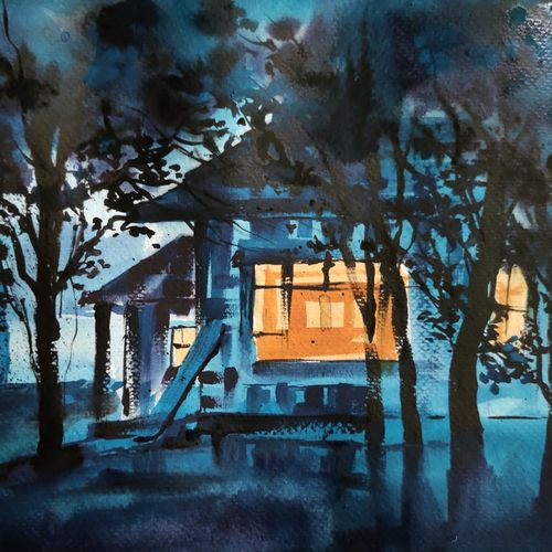 my cabin, 11 x 8 inch, shankhadeep  mondal,11x8inch,brustro watercolor paper,paintings,landscape paintings,nature paintings | scenery paintings,paintings for dining room,paintings for living room,paintings for bedroom,paintings for office,paintings for kids room,paintings for hotel,paintings for kitchen,paintings for school,paintings for hospital,watercolor,GAL01403034668