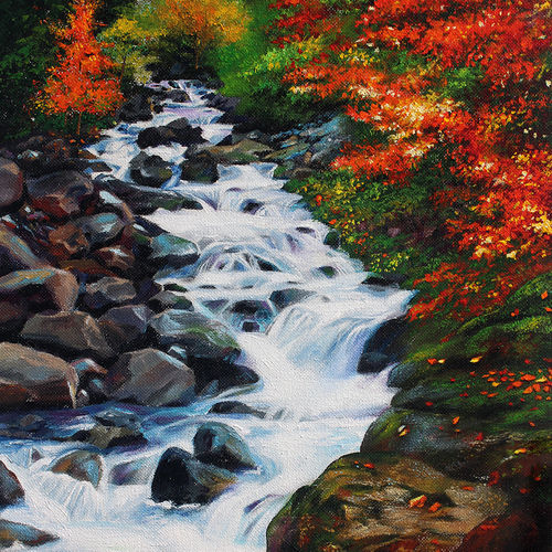 waterstream, 17 x 24 inch, muralidhar suvarna,17x24inch,hardboard,paintings,landscape paintings,nature paintings | scenery paintings,paintings for dining room,paintings for living room,paintings for bedroom,paintings for office,acrylic color,GAL0456934674