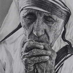 mother teresa, 10 x 15 inch, muralidhar suvarna,10x15inch,thick paper,drawings,fine art drawings,photorealism drawings,portrait drawings,realism drawings,paintings for living room,paintings for bedroom,paintings for office,paintings for kids room,paintings for school,paintings for hospital,pen color,pencil color,GAL0456934679
