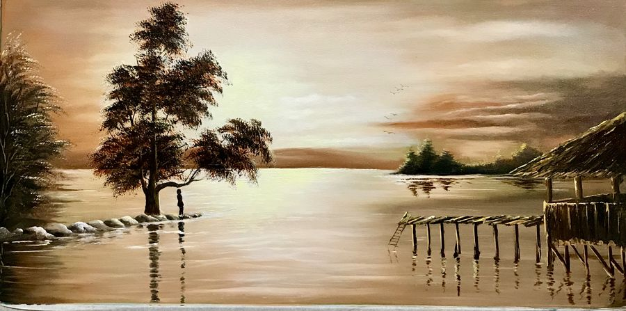 serenity, 39 x 19 inch, manoshi bhargava,39x19inch,canvas,paintings,landscape paintings,paintings for dining room,paintings for living room,paintings for office,paintings for hotel,oil color,GAL01473034692