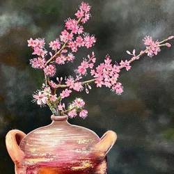 cherry blossom in terracotta, 20 x 30 inch, manoshi bhargava,20x30inch,canvas,paintings,still life paintings,paintings for dining room,paintings for living room,paintings for bedroom,paintings for office,paintings for hotel,oil color,GAL01473034693