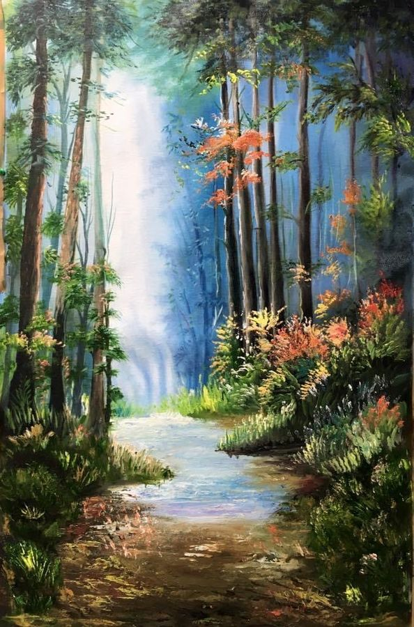 waterfall in the woods, 20 x 32 inch, manoshi bhargava,20x32inch,canvas,paintings,landscape paintings,nature paintings   scenery paintings,paintings for dining room,paintings for living room,paintings for bedroom,paintings for office,paintings for hotel,paintings for dining room,paintings for living room,paintings for bedroom,paintings for office,paintings for hotel,oil color,GAL01473034694