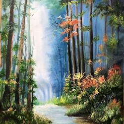 waterfall in the woods, 20 x 32 inch, manoshi bhargava,20x32inch,canvas,paintings,landscape paintings,nature paintings | scenery paintings,paintings for dining room,paintings for living room,paintings for bedroom,paintings for office,paintings for hotel,paintings for dining room,paintings for living room,paintings for bedroom,paintings for office,paintings for hotel,oil color,GAL01473034694