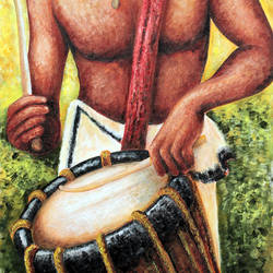 the drummer, 26 x 36 inch, seby augustine,conceptual paintings,paintings for living room,canvas,acrylic color,26x36inch,GAL0150347