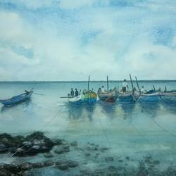 fishing boats, 17 x 12 inch, vinaya pravin,17x12inch,paper,paintings,landscape paintings,paintings for living room,paintings for office,paintings for hotel,watercolor,GAL02227134702
