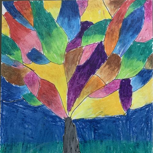glass tree, 8 x 11 inch, farah abdul rasheedb,8x11inch,paper,drawings,illustration drawings,paintings for office,paintings for kids room,pastel color,GAL02283734704