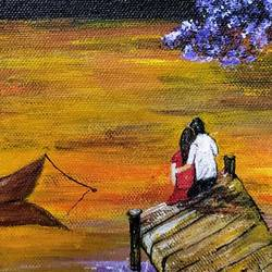 romantic sunset, 12 x 9 inch, sunayana tiwari,12x9inch,canvas,landscape paintings,paintings for bedroom,paintings for bedroom,acrylic color,GAL02015334708