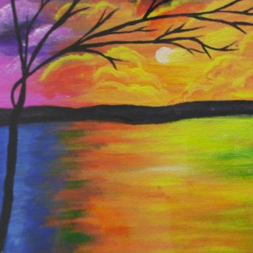 colorful sunset, 16 x 12 inch, sunayana tiwari,16x12inch,canvas,paintings,landscape paintings,paintings for dining room,paintings for living room,paintings for hotel,acrylic color,GAL02015334709