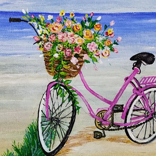 a bicycle ride on calm beach, 12 x 16 inch, sunayana tiwari,12x16inch,canvas,paintings,flower paintings,landscape paintings,nature paintings | scenery paintings,paintings for living room,paintings for bedroom,paintings for office,paintings for kids room,paintings for hotel,paintings for hospital,acrylic color,GAL02015334725