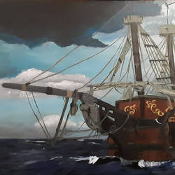 the pirates ship, 24 x 16 inch, tejal bhagat,24x16inch,canvas,paintings,landscape paintings,nature paintings | scenery paintings,abstract expressionism paintings,expressionism paintings,illustration paintings,impressionist paintings,photorealism paintings,photorealism,realism paintings,surrealism paintings,contemporary paintings,realistic paintings,paintings for dining room,paintings for living room,paintings for bedroom,paintings for office,paintings for bathroom,paintings for kids room,paintings for hotel,paintings for kitchen,paintings for school,paintings for hospital,acrylic color,GAL02041534733