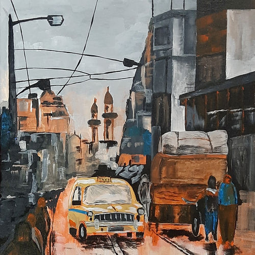 kolkata 02, 18 x 24 inch, tejal bhagat,18x24inch,canvas,paintings,abstract paintings,cityscape paintings,landscape paintings,conceptual paintings,nature paintings | scenery paintings,abstract expressionism paintings,expressionism paintings,illustration paintings,impressionist paintings,photorealism paintings,photorealism,realism paintings,surrealism paintings,realistic paintings,paintings for dining room,paintings for living room,paintings for bedroom,paintings for office,paintings for bathroom,paintings for kids room,paintings for hotel,paintings for kitchen,paintings for school,paintings for hospital,acrylic color,GAL02041534734