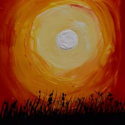 the sun, 5 x 7 inch, priyaneeti kumar,5x7inch,cartridge paper,paintings,nature paintings | scenery paintings,acrylic color,GAL02292334741