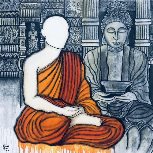 sarnath , 32 x 34 inch, mrinal  dutt,32x34inch,canvas,paintings,buddha paintings,conceptual paintings,contemporary paintings,paintings for dining room,paintings for living room,paintings for bedroom,paintings for office,paintings for kids room,paintings for hotel,paintings for kitchen,paintings for school,paintings for hospital,acrylic color,charcoal,GAL01311734746