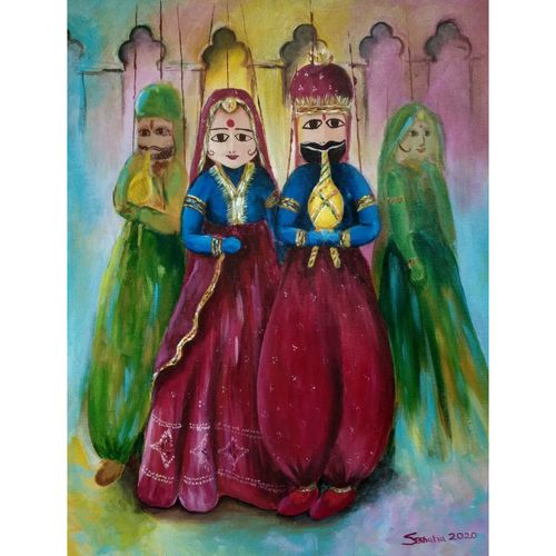 rajasthani puppets, 18 x 24 inch, sheetal bhatia,18x24inch,canvas,paintings,contemporary paintings,paintings for dining room,paintings for living room,paintings for bedroom,paintings for office,paintings for hotel,paintings for school,paintings for hospital,acrylic color,GAL01681934748