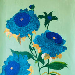 turquoise painting in acrylics, 19 x 29 inch, haritha reddy,19x29inch,canvas,flower paintings,acrylic color,mixed media,GAL02222134754