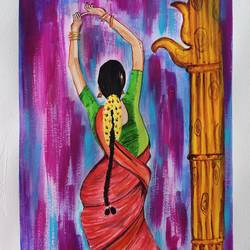 classical dancer south indian, 12 x 17 inch, sandeep av av,12x17inch,thick paper,paintings,folk art paintings,paintings for dining room,paintings for living room,paintings for bedroom,paintings for office,paintings for hotel,paintings for school,acrylic color,GAL02297634766