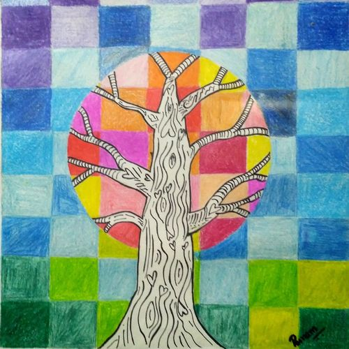 handmade tree & checks colourful, 11 x 12 inch, poonam mohnani,abstract drawings,paintings for office,paper,pen color,11x12inch,GAL012783477