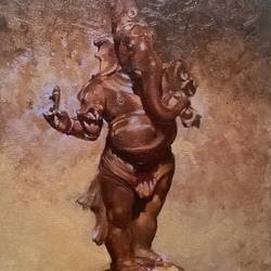 ganesh, 18 x 24 inch, akash kashid,religious paintings,paintings for living room,paintings for office,ganesha paintings,canvas,oil,18x24inch,GAL012803478,vinayak,ekadanta,ganpati,lambodar,peace,devotion,religious,lord ganesha,lordganpati,ganpati bappa morya,ganesh chaturthi,ganesh murti,elephant god,religious,lord ganesh,ganesha,om,hindu god,shiv parvati, putra,bhakti,blessings,aashirwad,pooja,puja,aarti,ekdant,vakratunda,lambodara,bhalchandra,gajanan,vinayak,prathamesh,vignesh,heramba,siddhivinayak,mahaganpati,omkar,mushak,mouse,ladoo,modak