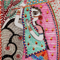 traditional madhubani & mandala painting of a lady a4, 8 x 12 inch, asmita chatterjee,8x12inch,thick paper,paintings,madhubani paintings | madhubani art,paintings for dining room,paintings for living room,paintings for bedroom,paintings for office,paintings for hotel,paintings for dining room,paintings for living room,paintings for bedroom,paintings for office,paintings for hotel,watercolor,GAL01118334780