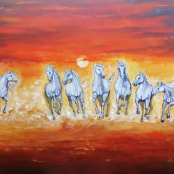 seven horses, 42 x 30 inch, arjun das,42x30inch,canvas,paintings,horse paintings,paintings for dining room,paintings for living room,paintings for bedroom,paintings for office,paintings for hotel,paintings for hospital,acrylic color,GAL011234803