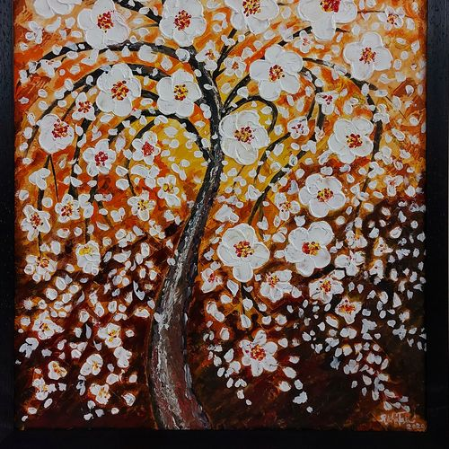 white blossom, 20 x 24 inch, richa tat,20x24inch,canvas,paintings,abstract paintings,flower paintings,modern art paintings,nature paintings | scenery paintings,contemporary paintings,children paintings,paintings for dining room,paintings for living room,paintings for bedroom,paintings for office,paintings for bathroom,paintings for kids room,paintings for hotel,paintings for kitchen,paintings for school,paintings for hospital,acrylic color,GAL02306734808