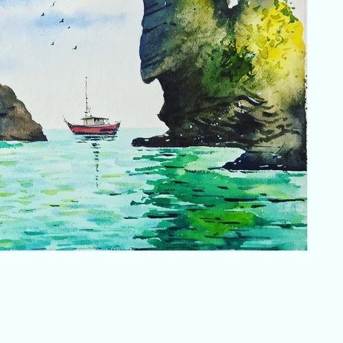 yacht in a sea - a watercolor piece, 15 x 11 inch, payal singla,15x11inch,thick paper,paintings,landscape paintings,paintings for living room,watercolor,GAL02297034818