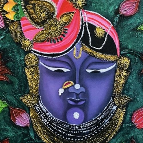 shreenathji, 24 x 24 inch, puja jhunjhunwala,24x24inch,canvas,religious paintings,paintings for living room,paintings for living room,acrylic color,oil color,GAL02307734833