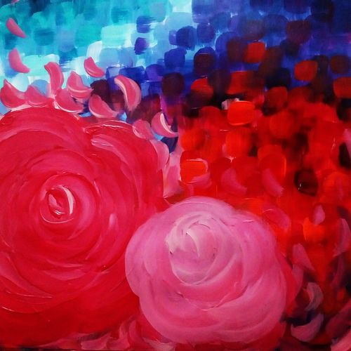 shedding rose, 12 x 16 inch, mrinalini anagani,abstract paintings,paintings for living room,flower paintings,thick paper,acrylic color,12x16inch,GAL011213484
