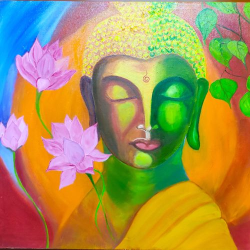 buddha , 24 x 20 inch, sweta jain,24x20inch,canvas,buddha paintings,religious paintings,paintings for dining room,paintings for living room,paintings for office,paintings for school,paintings for dining room,paintings for living room,paintings for office,paintings for school,oil color,GAL02163934840